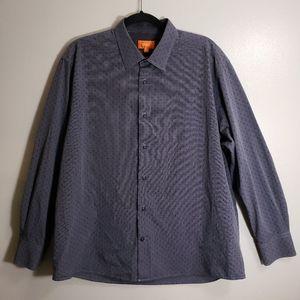 🔴 Tallia Striped Cherry Print Dress Shirt